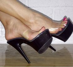 Clear wide band Mule with 5 inch Stiletto Heel and platform sole. Up to UK size Classic stiletto heels from Pleaser shoes. Hot Heels, Sexy Legs And Heels, Sexy High Heels, High Heels Stilettos, High Heel Boots, Stiletto Heels, Pumps, Beautiful High Heels, Gorgeous Feet