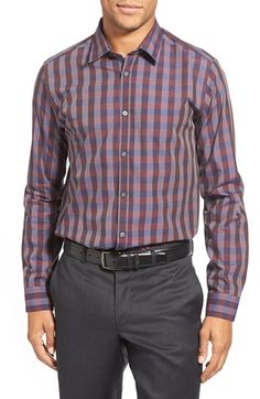 928b5bd12 Ted Baker London  Bronor  Slim Fit Check Sport Shirt available at   Nordstrom Sports