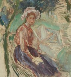 Jeune fille à l'ombrelle (1893). Berthe Morisot (French, 1841-1895). Oil on canvas. The young girl with her umbrella seems to have an open book which she has been reading. The work depicts Jeanne Fourmanoir in the Bois de Boulogne in Paris. A professional model for fellow Impressionist painters Pierre-Auguste Renoir and Federico Zandomeneghi, Jeanne was introduced to Morisot by Zandomeneghi in 1892.