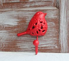 Decorative Wall Hook Ornate Red Bird Hook Cast by LoweryDesigns