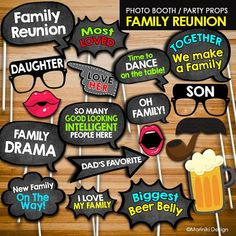 photo booth props for family reunion Family Reunion Decorations, Family Reunion Themes, Family Reunion Activities, Reunion Centerpieces, Family Reunion Shirts, Family Birthdays, Family Reunions, Photo Booth Party Props, Photo Booths