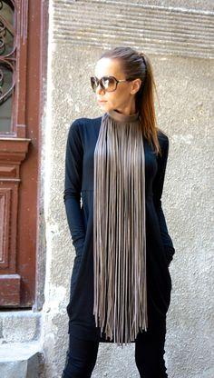 NEUE Kollektion 2016 grau Extravagant Fringe lange von Aakasha