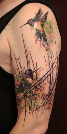 Tattoo Inspiration - Worlds Best Tattoos : Tattoos : Gene Coffey : Hummingbird Blossom Tattoo Trendy Tattoos, Love Tattoos, Beautiful Tattoos, Body Art Tattoos, Tattoos For Women, Tatoos, Beautiful Body, Bird Tattoo Sleeves, Petit Tattoo