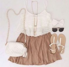 Gorgeous pleated skirts with top white lace blouse and white leather hand bag and cute shoes and black goggles and gold chain and white bow the best summer outfits