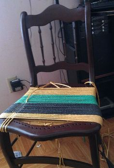beat up old chair turned functionally pretty & Diy knitted chair | Backyard ideas | Pinterest | Diy chair DIY ...