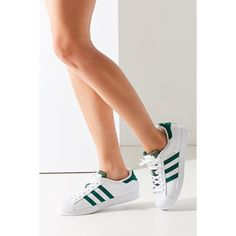 adidas Green Superstar Sneaker (295 AED) ❤ liked on Polyvore featuring shoes, sneakers, green shoes, leather low top sneakers, adidas shoes, leather shoes and green sneakers