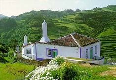 A typical Portuguese cottage, but far away in the Atlantic on the island of Santa Maria, Azores, Portugal