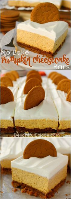 Let me introduce you to your new favorite fall dessert! Made with a Gingersnap Cookie Crust, whipped topping and a few other goodies, these No Bake Pumpkin Cheesecake Bars are simple enough for a casual fall celebration and decadent enough for Thanksgivin