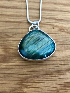 Large Labradorite pendant, Handmade labradorite and sterling silver pendant, green and blue flash pendant, Labradorite, Oval pendant by MGilesJewellery on Etsy