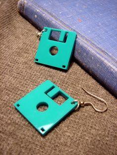 Floppy Disk Geek Earrings  Laser Cut Acrylic by HoraEffect on Etsy