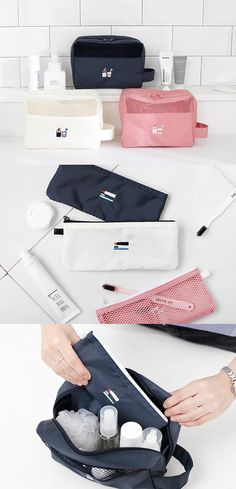 The Toiletry Travel Kit makes it easy and fun to carry your toiletries, makeup, skincare and more for your next travel. Place them together in this bag, and you won't have to worry about locating any of your daily essential items!