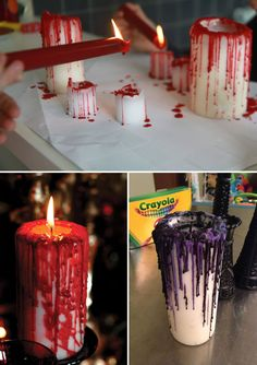 Cool DIY Halloween Projects Will Give Your Guests A Fright Make spooky candles by letting red wax or crayons drip melt down the sides.Make spooky candles by letting red wax or crayons drip melt down the sides. Spooky Halloween, Halloween Candles, Outdoor Halloween, Halloween Party Decor, Diy Halloween Easy, Halloween Party Themes, Halloween 2018, Diy Halloween Projects, Diy Halloween Decorations
