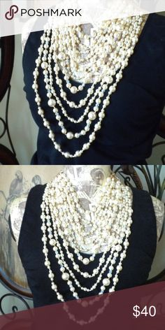 a2c764f5d4 Full Off White Faux Pearl Bib Necklace 22