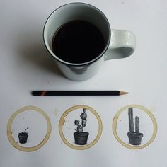Artist Carter Asmann interprets coffee marks let on his white sheets of paper with very detailed pencil drawings. The brownish and circular mark of coffee is th Coffee Drawing, Coffee Painting, Coffee Art, The Shining, Graphite Drawings, Pencil Drawings, Illustration Sketches, Graphic Design Illustration, Collage Drawing