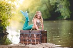 Mermaid | The Little Mermaid | Girl Costumes | Child Model | Modeling | Costume | Sailing | Fairy Tale | Fairytale | Ariel | Treasure Chest | Hair | Make-up | Water | Lake | Nautical | Portrait Poses | Photo Idea | Photography | Cute Kid Pic | Posing Ideas | Kids | Children | Child | ~Woodstock, Georgia Photographer close to Atlanta | Dare to Be Different Photography~