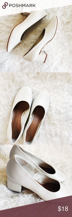 Stunning White Blocked Heels So hard to let go of, but I bought the wrong size. My mistake is your gain with these trendy low heeled shoes. Elongated uppers that have quickly become a classic shape go perfectly with jeans or your favorite spring time dress. Zara Shoes Heels