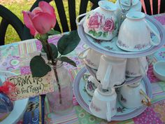mice in teapots, cups on cake stands decorating fun