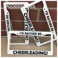 I/'d rather be CHEERLEADING cheerleader Black Metal License Plate Frame Caps
