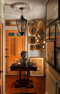 """Note...coloration of entry door as it picks up framed mirrors and floor tones...love antique table/sculpture too...oh boy..."""")"""