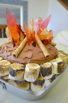 DIY Campfire Camping Birthday Cake Tutorial - SO easy and SO stunning for a kid's birthday party, Boy Scouts or camp send off!