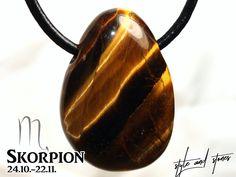 SCORPIO: Tiger's eye on leather strap / cotton cord (necklace) Eggplant, Stone, Etsy, Leather Cord, Neck Chain, Rock, Eggplants, Stones, Batu