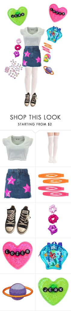 """~im 2000 and late"" by nymphet-lolita ❤ liked on Polyvore featuring Wet Seal, Au Jour Le Jour, Forever 21, Converse, O-Mighty, Sourpuss and Disney"
