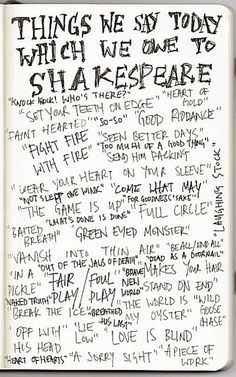 Things we say today which we owe to Shakespeare...very interesting!:)