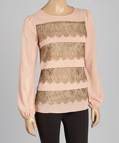 This Dusty Pink Lace Stripe Puff-Sleeve Top is perfect! #zulilyfinds