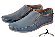 Miguel Real Leather Blue Deck Moccasins Leather Loafers, Leather Slip Ons, Smooth Leather, Real Leather, Indoor Outdoor Slippers, Classic Tan, Moccasins, Oxford Shoes, Dress Shoes