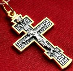 Antique style crucifix decor silver gold russian orthodox cross old style russian orthodox icon cross silver 925 gold 18k christian jewelry ebay aloadofball Images