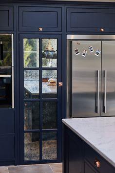 Project 23 – Guilford – The Main Company Blue Kitchen Interior, Home Decor Kitchen, Kitchen Ideas, Shaker Style Kitchens, Shaker Kitchen, Kitchen Reno, Open Plan Kitchen Dining Living, Kitchen Diner Extension, Hidden Kitchen