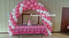 Spiral Balloon Arch for Cake or Gift Table www.partiesbygarrett.com Find me on Facebook