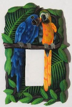Rocker Switch Plate Cover - Painted Metal Blue - Gold Macaw Parrots - Tropical Light Switch - Haitian Steel Drum Art - Single- by TropicAccents Art Tropical, Tropical Home Decor, Tropical Design, Tropical Birds, Tropical Furniture, Tropical Interior, Tropical Colors, Exotic Birds, Decorative Light Switch Covers
