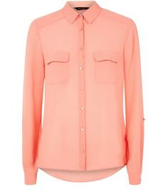 """Add this coral shirt to any wardrobe as a versatile everyday piece - try wearing with a dark blue ripped knee skinny jeans and block heel boots.- Double pocket front- Cuffed sleeves- Collared neck- Button front fastening- Sheer design- Casual fit- Model is 5'8""""/176cm and wears UK 10/EU 38/US 6"""