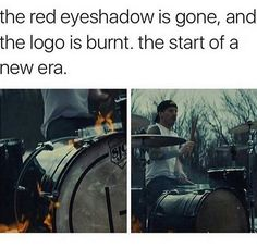 Ahhh okay so can someone theorize with me here? Josh's red eyeshadow was gone, but Tyler's paint wasn't, so. The Few The Proud, Joshua William Dun, Screamo, Tyler And Josh, Josh Dun, Top Memes, Band Memes, Staying Alive, Fall Out Boy