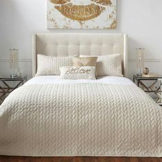 New Luxury Cream Gold Embroidered Quilted Bedspread Throw Elegant Italian