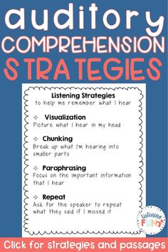 Auditory Comprehension Strategies and Passages NO PREP Auditory Processing Activities, Auditory Processing Disorder, Speech Therapy Activities, Listening Activities, Auditory Learning, Learning Disabilities, Kids Learning, Memory Strategies, Comprehension Strategies
