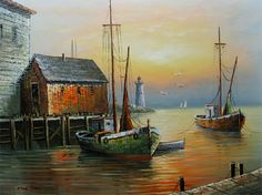 Oil Paintings of Fishing Boats | Details about FISHING BOATS Signed MAX SAVY Oil Paintings Wall Art ...