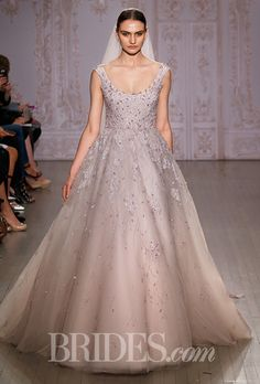 """Brides.com: . """"Moonlit"""" sleeveless lavender tulle ball gown wedding dress with a scoop neckline and floral embellishments, Monique Lhuillier"""