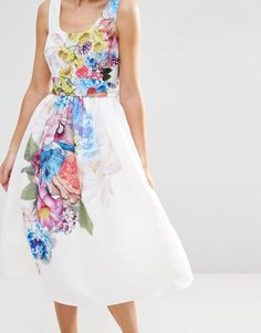Image 3 of ASOS SALON Beautiful Floral Placed Midi Prom Dress
