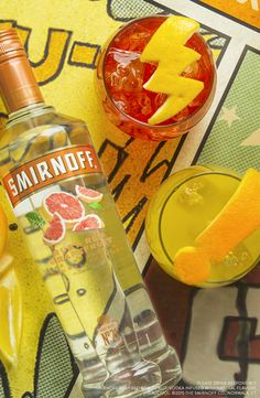 Superheros and villians both need easy drinks. Try this grapefruit punch for summer parties.   Just mix 1.5 oz Smirnoff Ruby Red Grapefruit with either 3 oz Cranberry Juice OR 1 oz Orange Juice and 1 oz Lemon Lime Soda. Garnish both with an Orange Wheel.