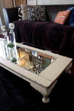 mirrored door as coffee table