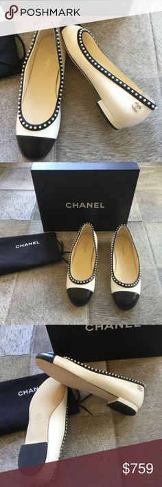 NIB CHANEL $850 Pearl Cap Toe Flats SZ 37 Gorgeous, rare and brand new in box size 37. Soft white with black cap toe and embellished with baby pearls along the foot and a classic CC pearl logo on each heel. To die for!! A coco classic and must have. Sold out in all stores. Better on 🅿🅿 CHANEL Shoes Flats & Loafers