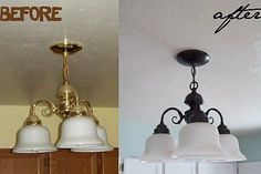 Let There Be (Non-Brassy) Light! ~ Revive those tacky '90s brass light fixtures with 'Rust-oleum Oil Rubbed Bronze Spray Paint' and a little elbow grease. The difference in the look of the light fixture is astounding...understated and elegant. Wonder how this would work on those ugly brass door knobs and more?…