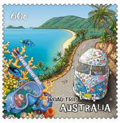 postage stamp from Australia - part of a series featuring an Australian road-trip - this one is the Great Barrier Reef Vw Bus, Vw T1 Camper, Vw Camping, Postage Stamp Art, First Day Covers, Great Barrier Reef, Fauna, Stamp Collecting, Mail Art