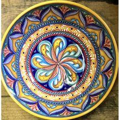 """Bonechi Imports - Antico Geometrico 11"""" Serving Bowl - Hand painted in Deruta, Umbria"""