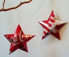 Recycled coca cola christmas tree decorations baubles ornaments