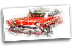 Orange Classic Car Graphic Art on Wrapped Canvas