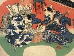 猫のけいこ(1841年) 歌川国芳  江戸時代後期に男性たちの間で流行したお稽古事「浄瑠璃」を猫で描いた団扇絵。なんと、女のネコ師匠とネコ弟子2匹の着物の柄が猫の大好物となっている。国芳、芸が細か過ぎ。ちなみに説明すると、ネコ師匠の着物の柄は、鈴に小判、猫の足跡、目刺し。手前のネコ弟子はフカヒレ、奥のネコ弟子はタコの柄。