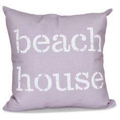 E by Design Beach House 16-inch Word Print Pillow